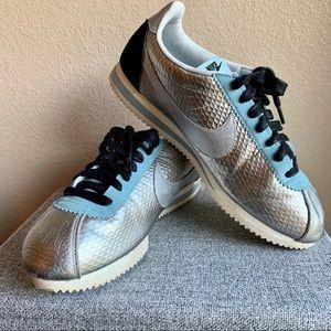 Men's Metallic Silver and Blue Nike Cortez